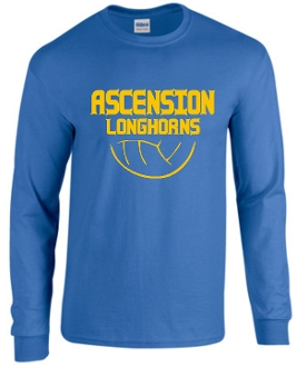 Ascension Volleyball long sleeve t shirt with volleyball design