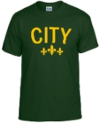City Forest Green tshirt with Gold logo