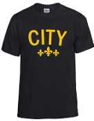 City Black tshirt with Gold logo