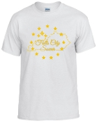 Falls City white tshirt with Gold logo