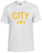 City white tshirt with Gold logo