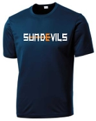 Sun Devils logo Navy Moisture wicking T shirt ST 350