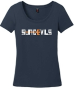 Sun Devils logo Navy Ladies scoop neck T shirt DM106L