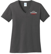 Noe Middle LADIES CUT 100% cotton Charcoal V neck LPC54V