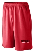 Meyzeek Baseball Red shorts 9 inch inseam Aug 802/809