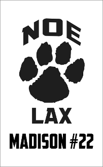 Noe Middle School Lacrosse car magnet with black name and number