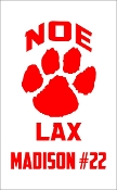 Noe Middle School Lacrosse car magnet with red name and number