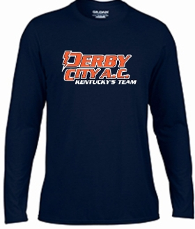 Derby City AC Performance Navy Long Sleeve cotton Tshirt G424