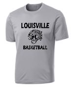 Louisville Tigers Basketball Silver Moisture wick Tshirt PC380