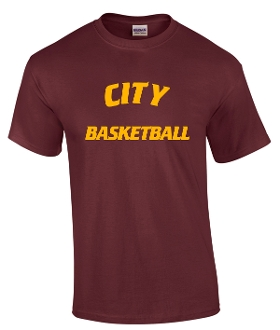 City Basketball Maroon cotton blend T shirt G8000