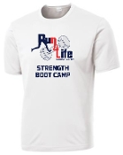Run 4 Life Boot Camp ST350 moisture wicking white T-shirt