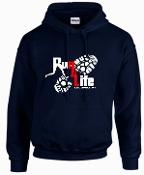 Run 4 Life Navy Hooded sweatshirt G18500