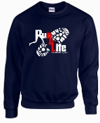 Run 4 Life Navy Crewneck sweatshirt G18000