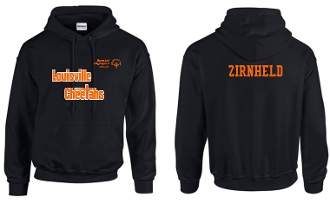 Louisville Cheetahs Black Hoodie with two color logo G185