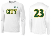 Falls City white long sleeve tshirt with 2 color CITY front logo