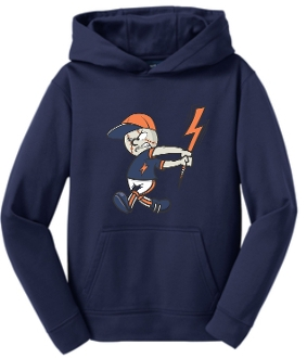 Lyndon Lightning Youth Moisture wicking Navy Hoodie YST244